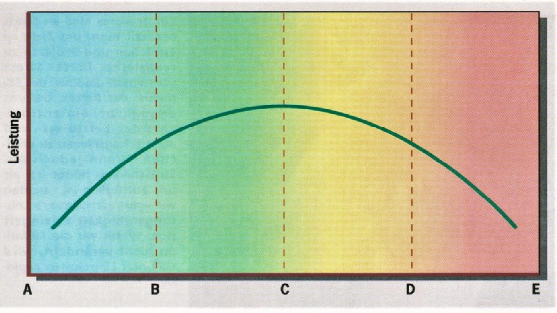 ....    Von A-B findet sich kein Stress. Leistung ist niedrig. Von B-C sind Betroffene motiviert und bringen optimale Leistung. Von C-D beginnt die kritische Phase mit übermässigem Stress und abnehmender Leistungsfähigkeit. Von D-E ist das Stressniveau zu gross, die Leistung fällt ab und Krankheiten melden sich.    ..    There is no stress in the area between A and B, and production is low. Between B and C the people are highly motivated, and their accomplishments are at an optimum. The area between C and D is a critical point where too much stress begins to cause performance to sink. Stress levels between D and E are so high that production dwindles and illnesses begin to develop.   ....