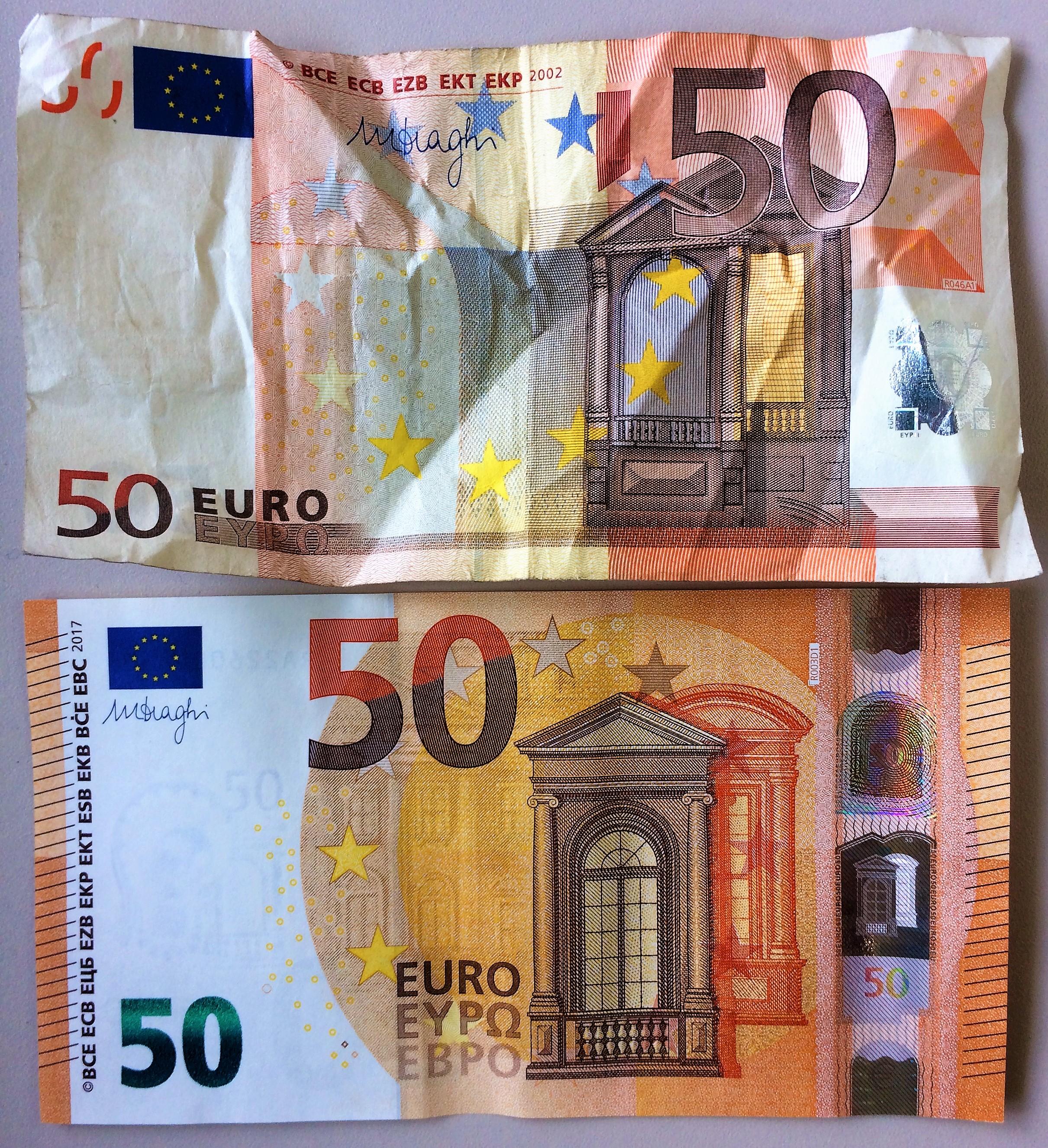 """....    Welchen dieser Euro-Scheine würden Sie persönlich vorziehen ? Auch den unteren ? Klar, der ist ja auch schöner anzusehen. Wir lieben das Schöne, daher ziehen wir es vor.    Welcher dieser Scheine hat mehr Wert ? Sie sagen: """"Beide gleich viel!"""" Und dies, obwohl der eine so zerzaust ist ? Es kann also etwas den Wert behalten, obwohl es nicht mehr 'optimal anzusehen' ist.    ..    Which of these Euro bills would you prefer to have? The lower one? Of course, it looks much nicer. We love beauty. We tend to choose nicer things.    Now, which of these Euro notes is more valuable? You would say they're equal, right? Really? Even though the one is all crumpled and ugly? So, you're saying something can keep its value even though it is not as pretty as it once was or in comparison with others?    ...."""