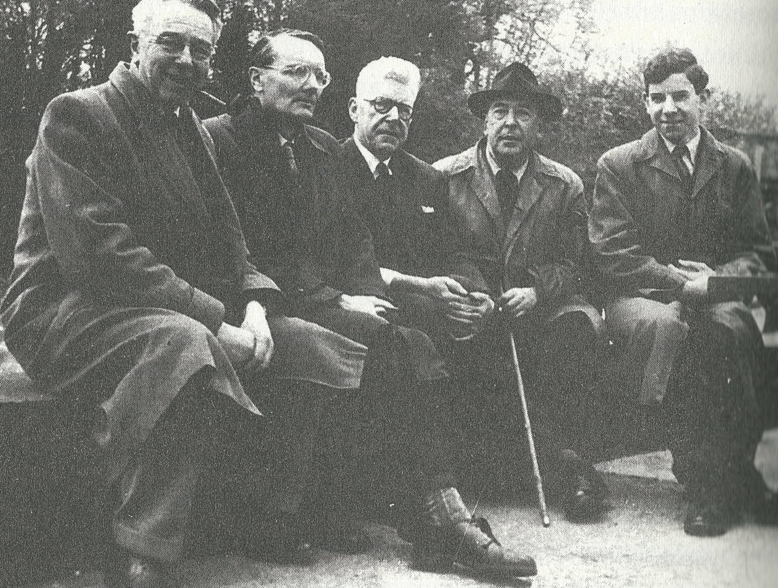 C.S. Lewis, fourth from the left. Photo taken at The Trout, just outside the Port Meadow in Oxford.