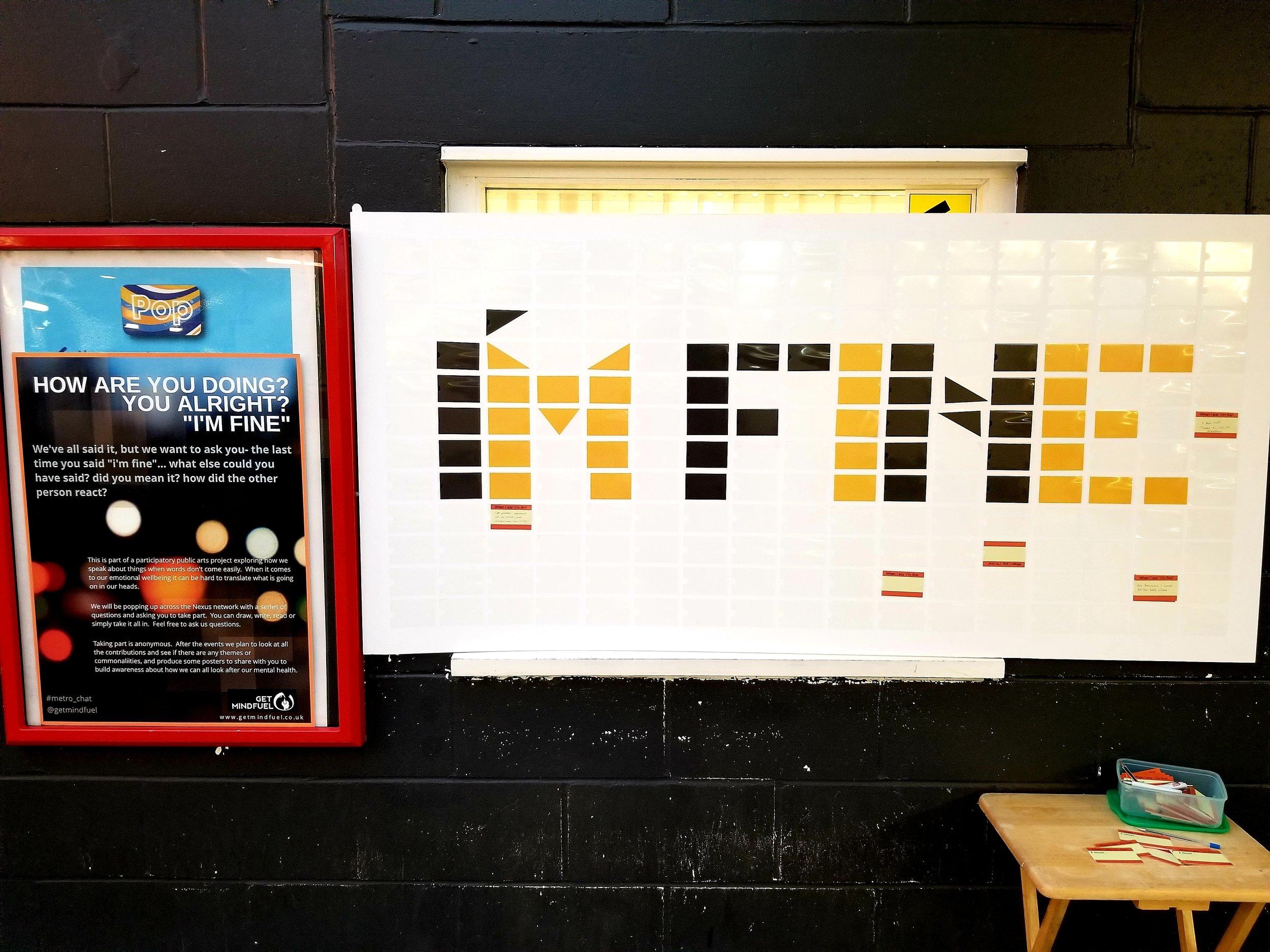 """""""I'm Fine"""" Wonderwall at Gatesehad Interchange."""