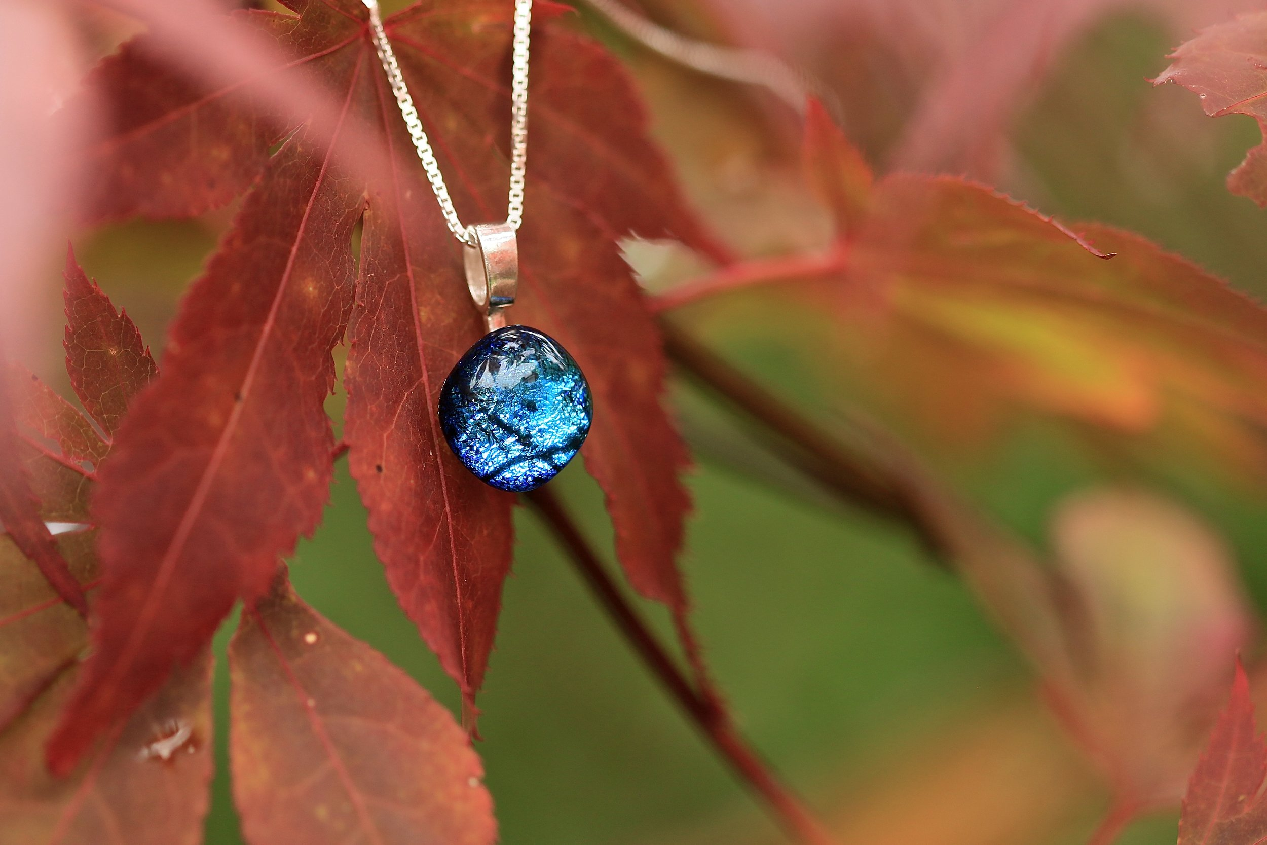 Mere Glass jewellery ida pendant glass necklace on silver