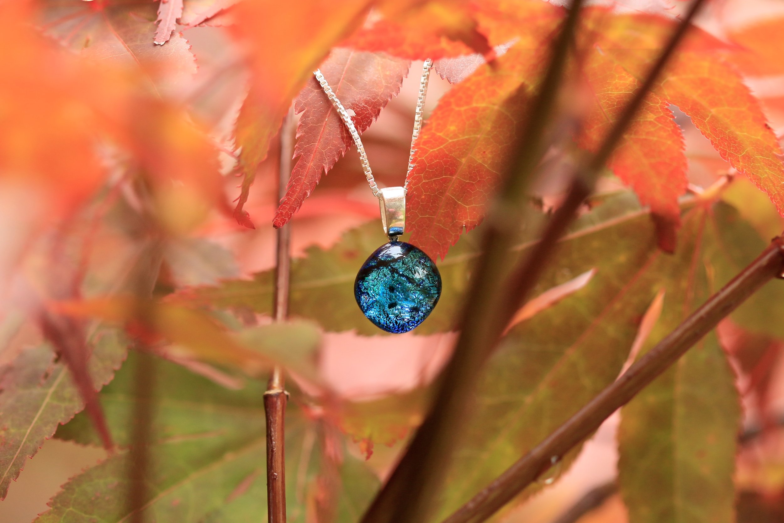 Mere Glass jewellery IDA Ice Blue dichroic glass necklace pendant on silver made Lake District