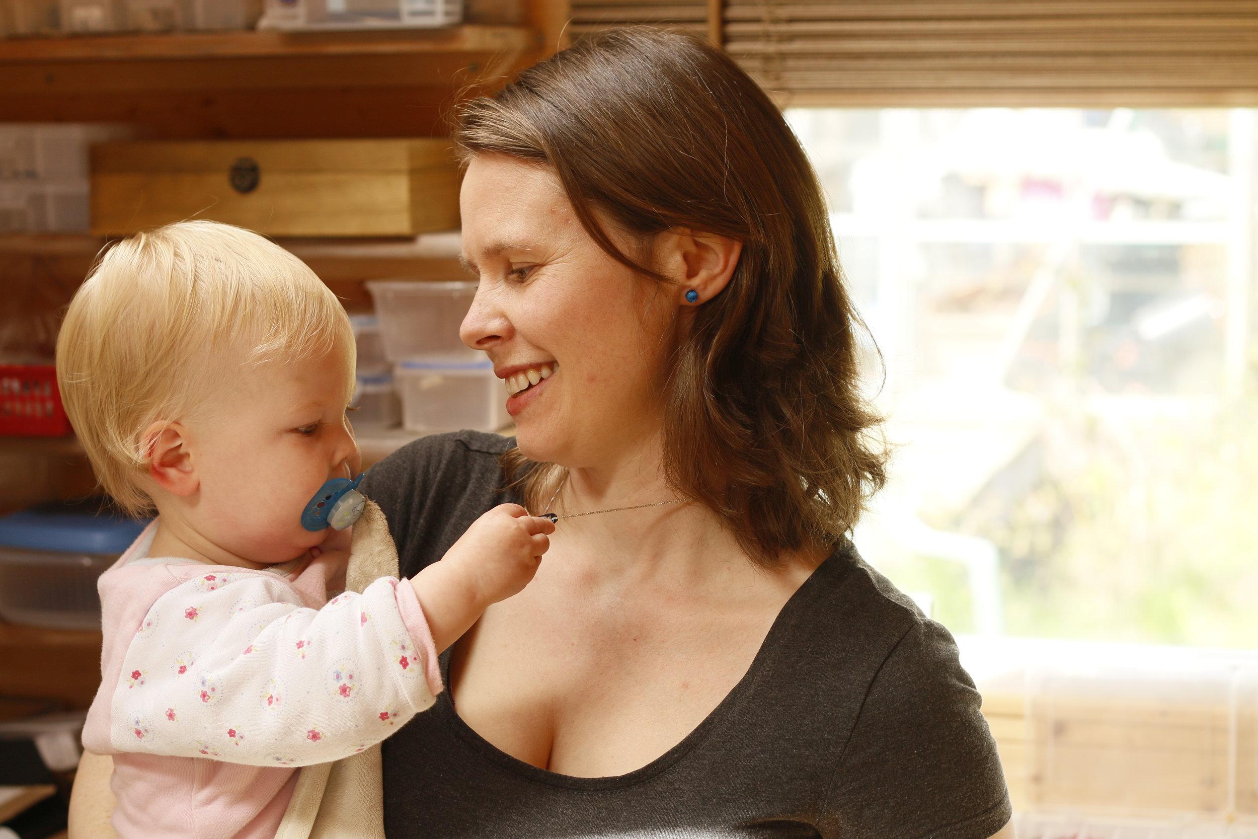 Mere Glass Designer/Maker Hannah and Daughter Grabbing at shiny jewellery