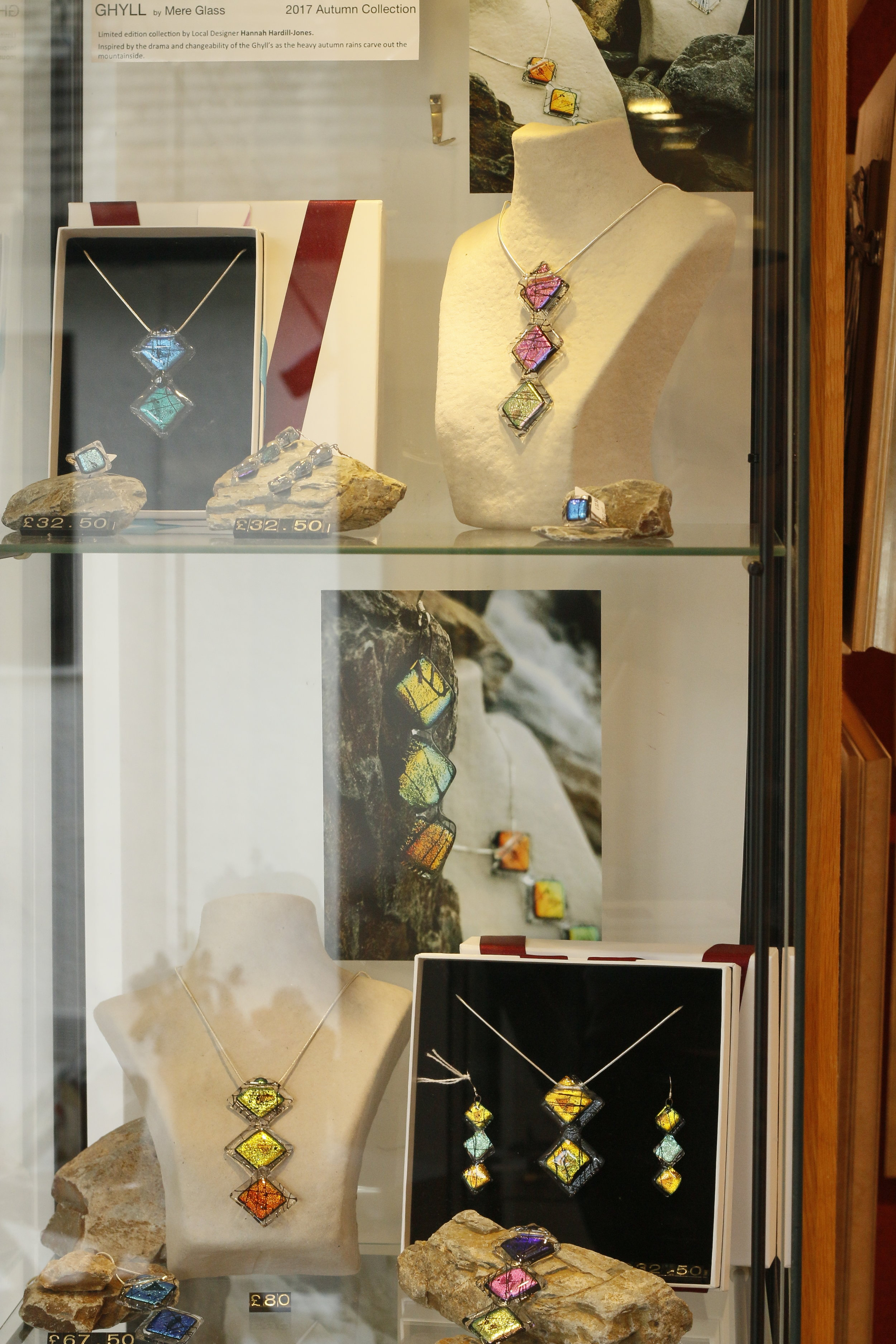 Mere Glass Ghyll Collection Pendant Necklace Autumn Orange Blue Pink Lake District Jewellery Glass Treeby&Bolton Display