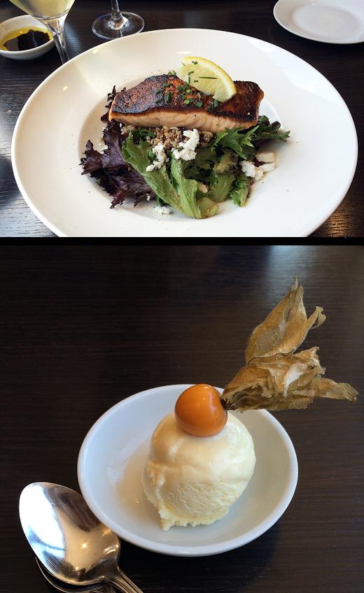 Salmon Dish (above) Roasted Garlic Ice Cream (below)