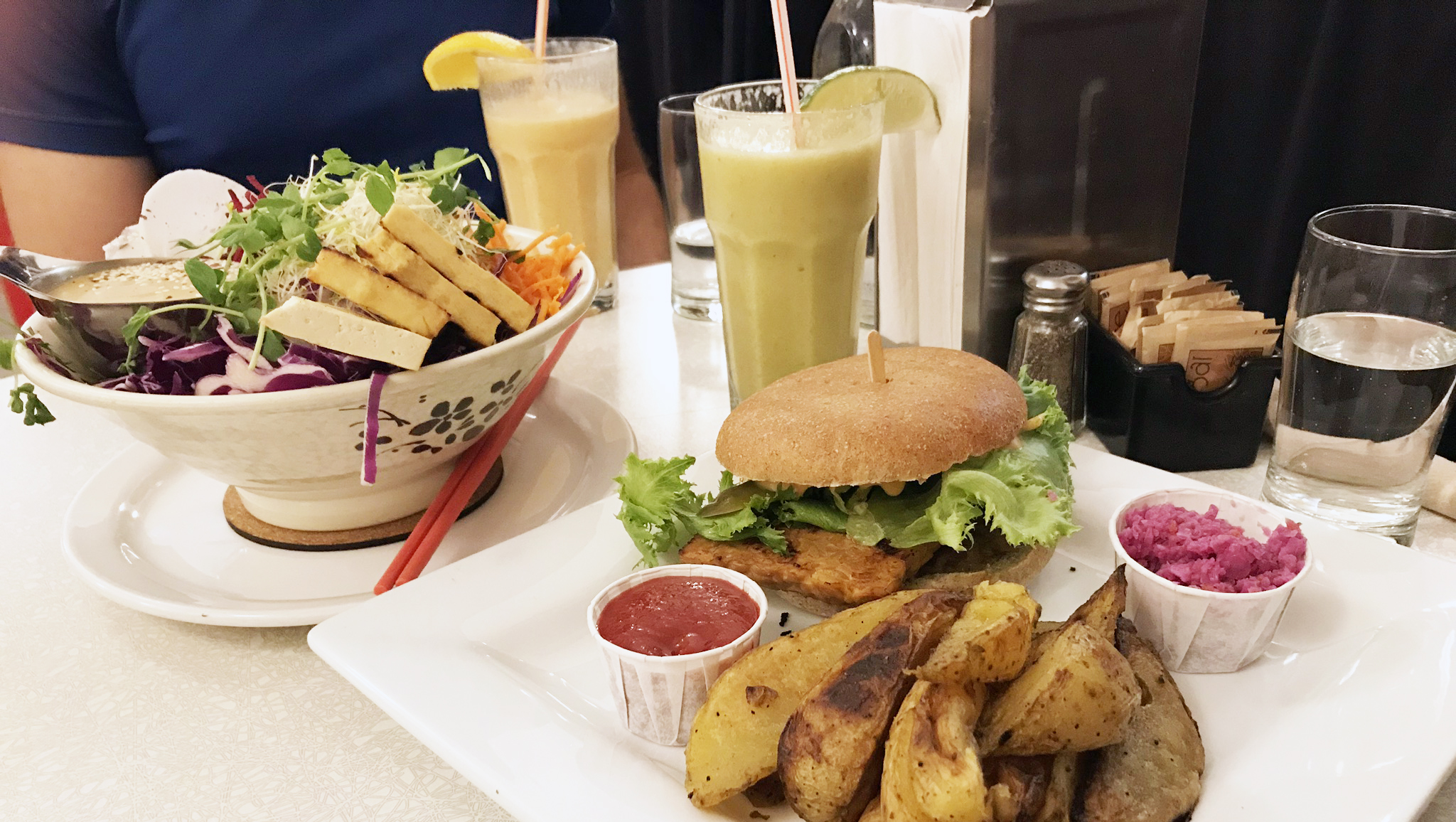 Aux Vivres - Dishes - The Dragon Bowl & Tempeh Burger