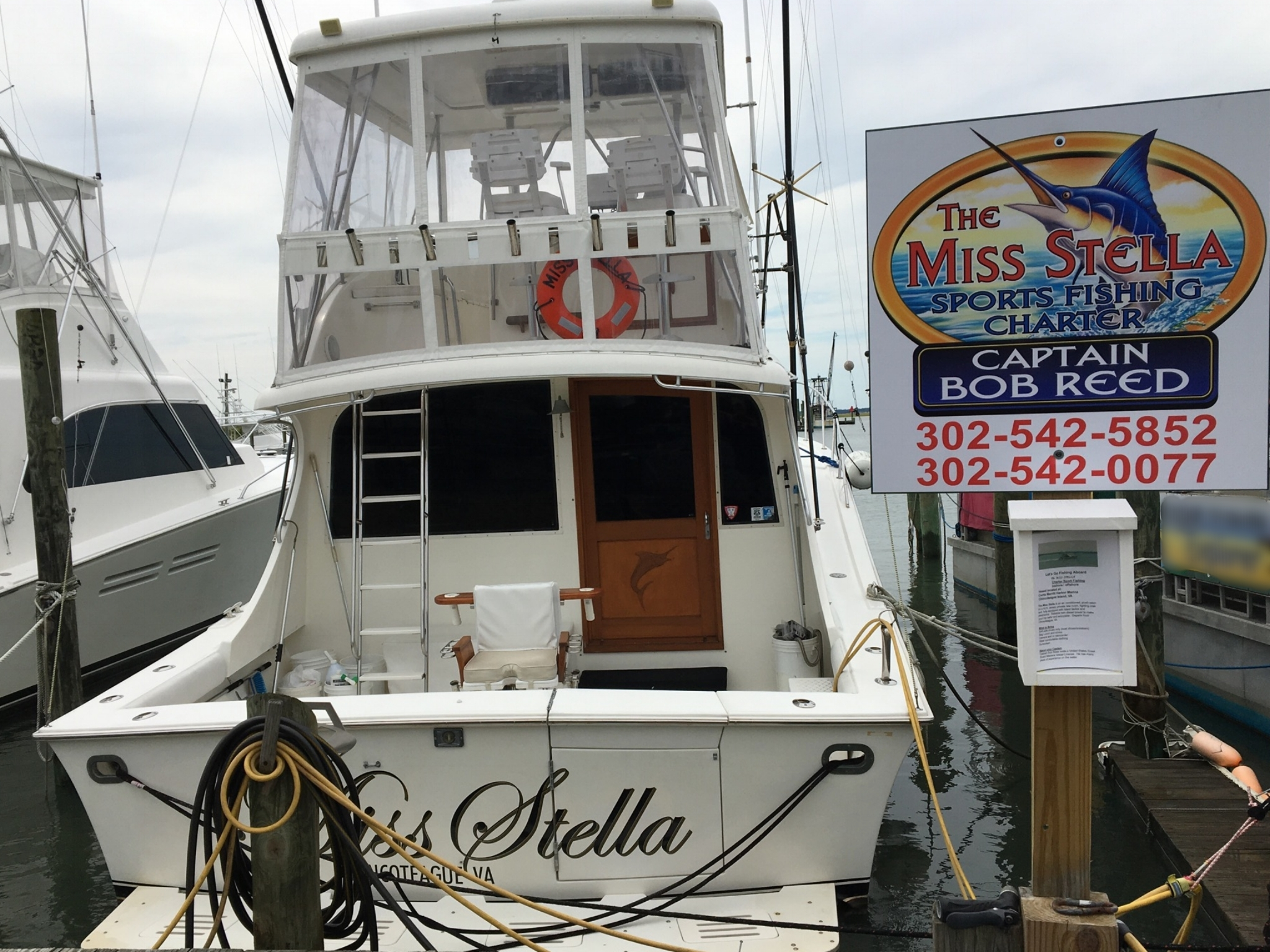 The Miss Stella docked before fishing trip off Chincoteague, Virginia