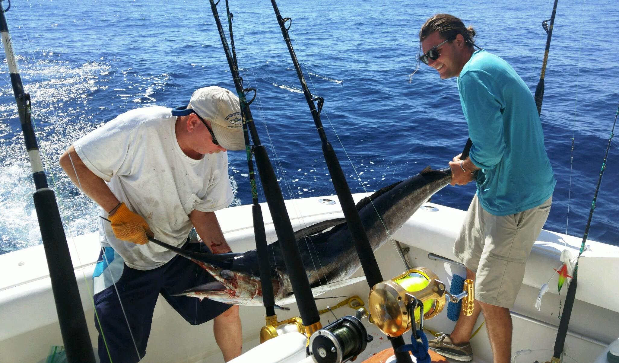 Offshore fishing charter marlin catch