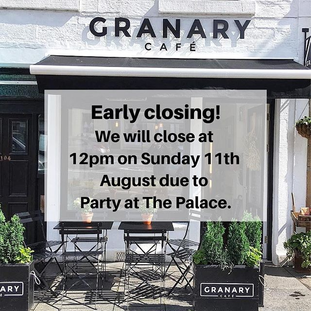 We will be closing early at 12pm this Sunday, as we will be at Party at The Palace catering for all your caffeine needs!⠀ .⠀ .⠀ .⠀ #GranaryCafeLinlithgow #Linlithgow #WestLothian #EdinburghFood #EdinburghFoodie #EdinburghCafe #Cafes #Cafestagram #ScottishFood #ScottishFoodie #SeasonalProduce #ScottishProduce #ScottishBusiness #NeighbourhoodCafe #CosyCafe #LocalCafe #CaffeineFix #CaffeineAddict #CoffeeTime #Coffees #MusicFestival #ScottishFestival #SupportLocalBusiness #Cafestagram #ClosingEarly