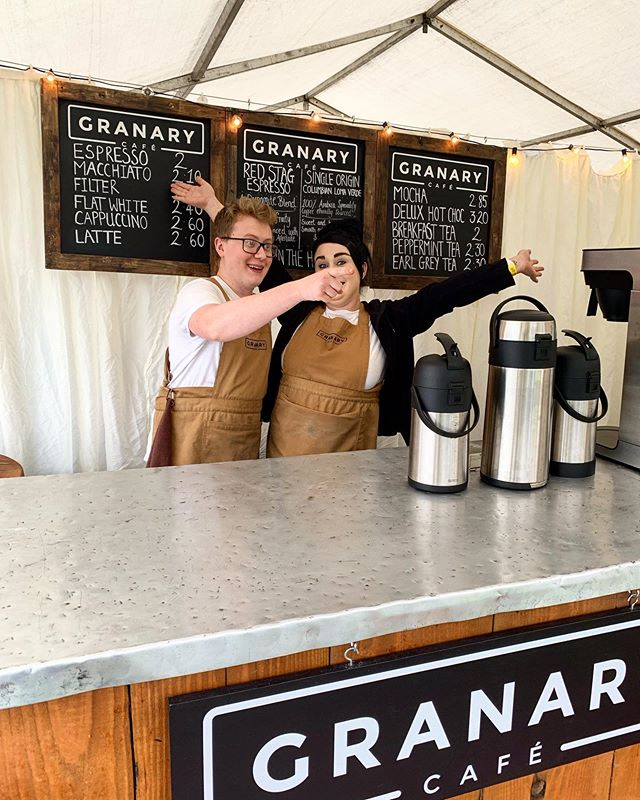 Team Granary are here at PATP! Come see us, it might be wet and miserable out there but we're not. 😀☕️ coffeenotbeer #anoraks #wetwetwet #patp #partyatthepalace2019 #granarycafelinlithgow #linlithgow