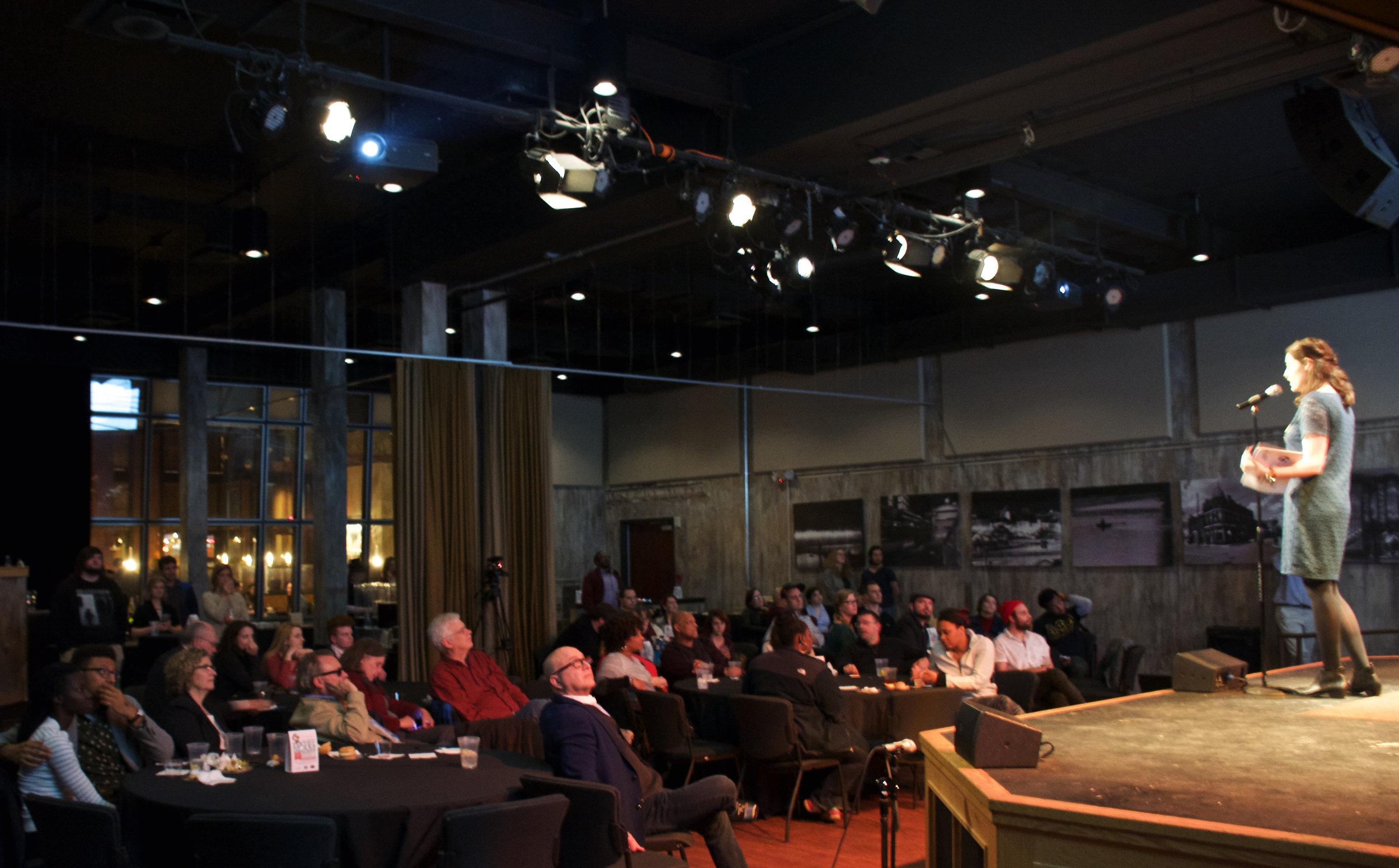 GLA President Dr. Laura Keigan addresses crowd at 2016 benefit.