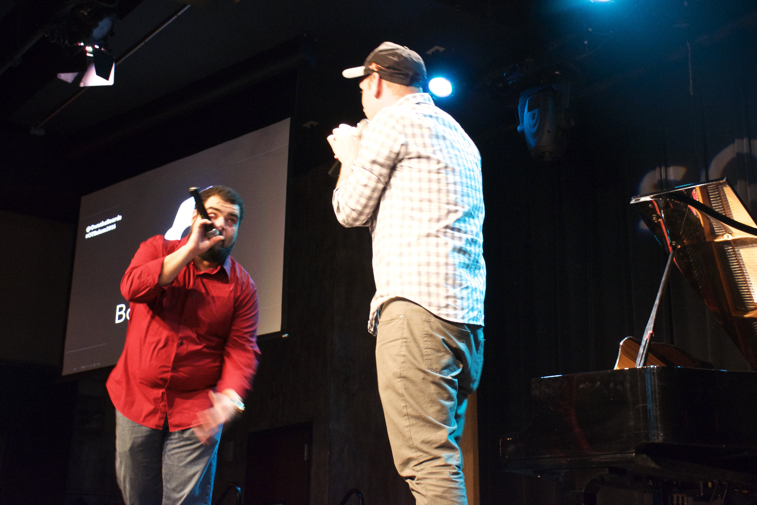 """Jonathan """"Courageous"""" Clark and Lane Shuler, of I.N.K. Poetry, emcee the event."""