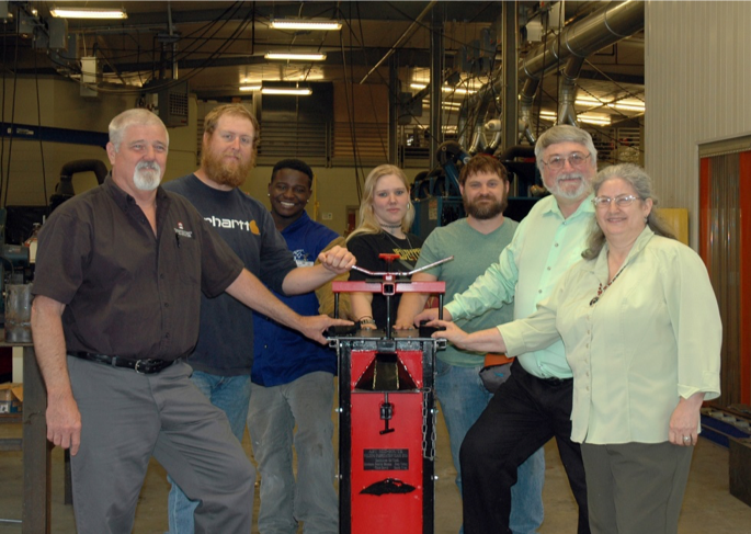Ed Cook- Lead Faculty for Welding Program, Welding students Joey Cabay, Detrick Beason, Sarah Utley, Chris Dowds, and Missionaries Ralph and Twyla Williams.