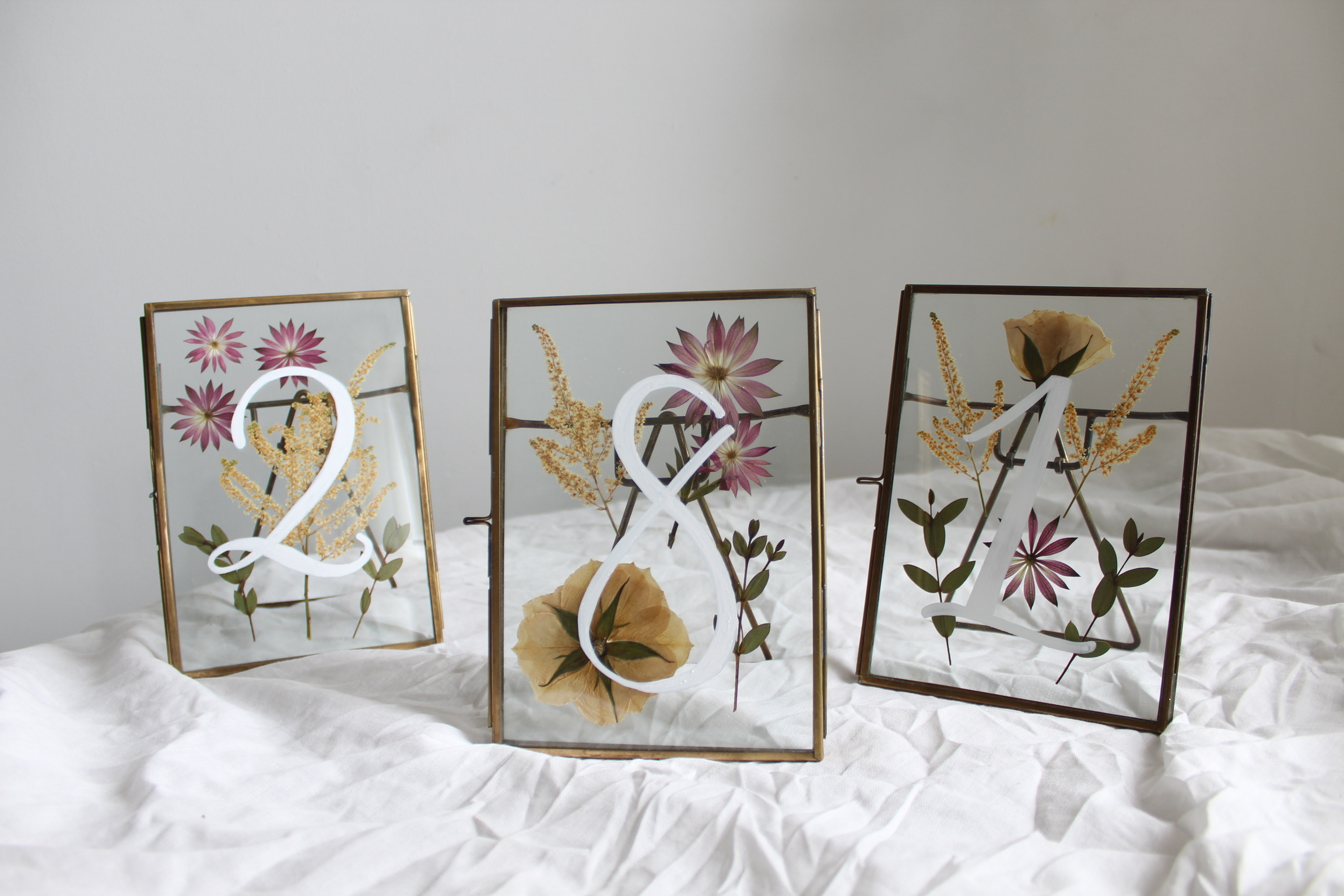 Framed Florals Table Numbers - Collaboration for a Brooklyn Wedding