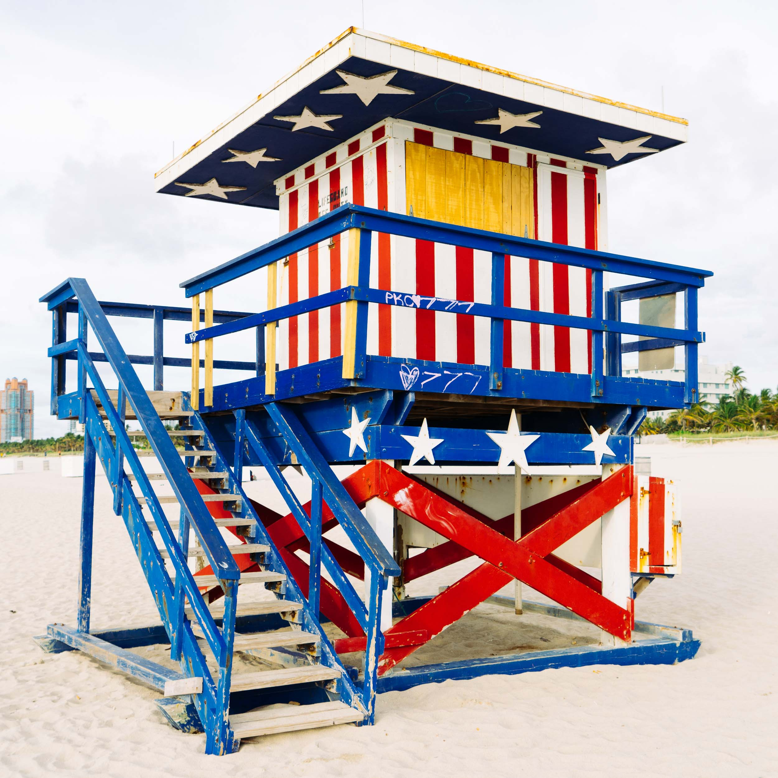 Stars and Stripes Miami Lifeguard Stand - Side View