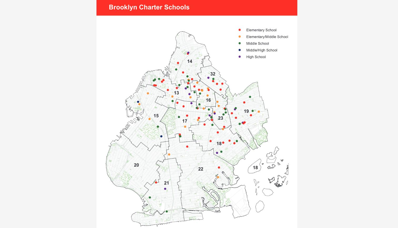 map of Brooklyn Charter Schools