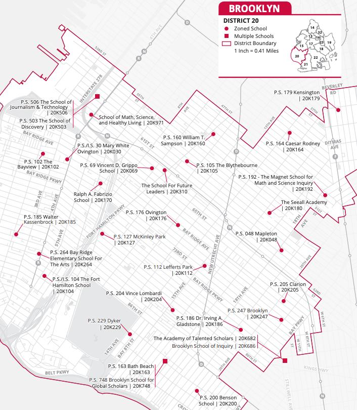 Brooklyn District 20 Map of Elementary Schools