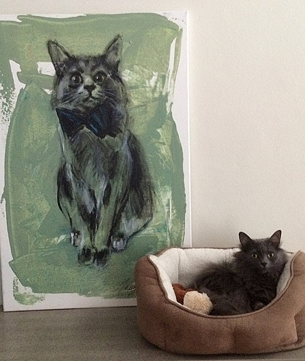 Example of a commissioned piece and the real-life inspiration -a handsome kitty named Slater.