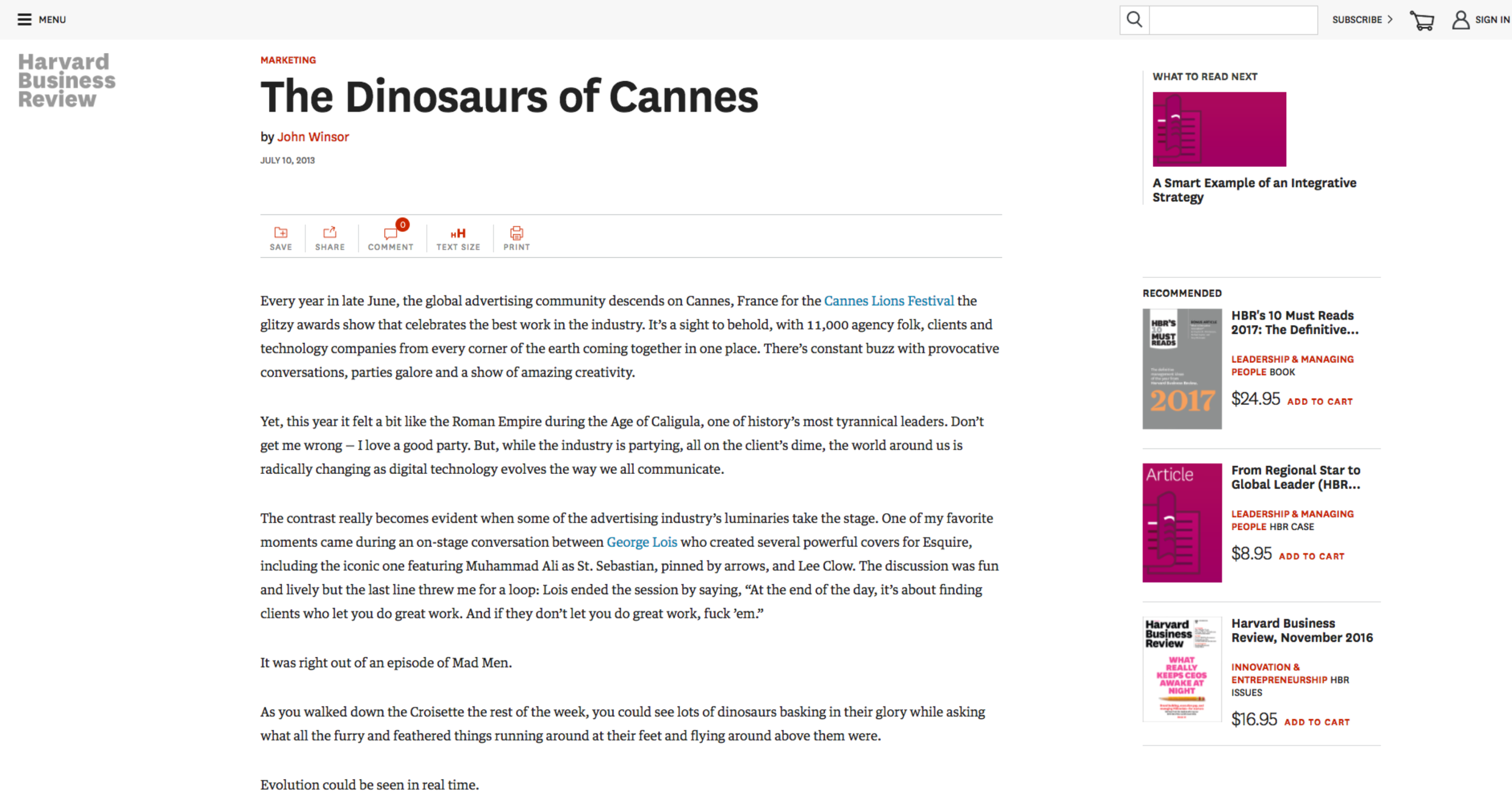 The Dinosaurs of Cannes