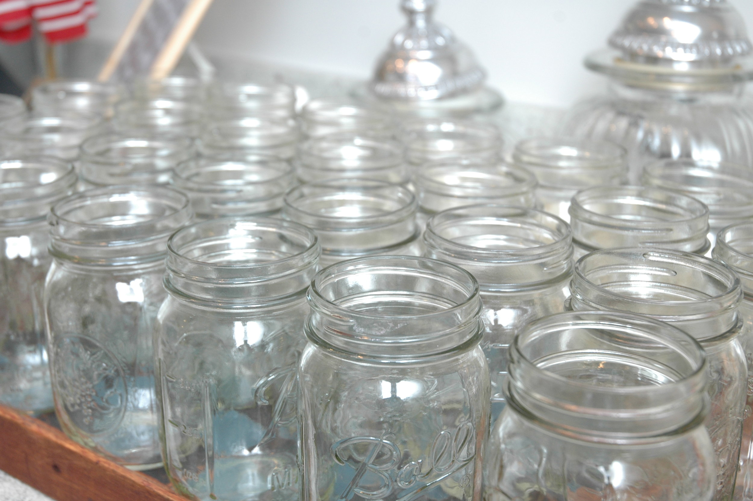 Nothing more American country than drinking of of Ball-Mason jars in the summer. They're on an antique checkerboard tray.