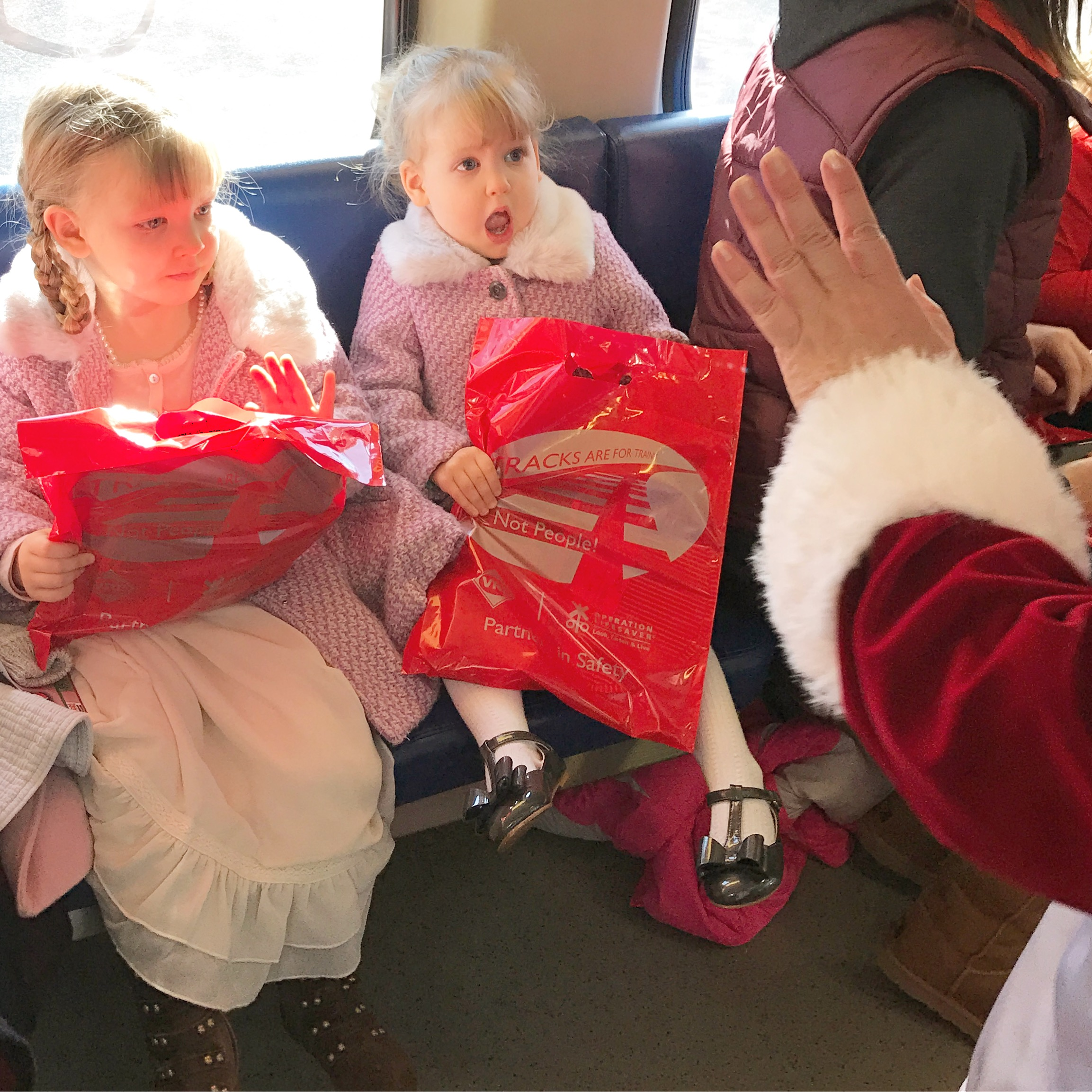 The Santa Train in Manassas! Heidi was shocked seeing Mrs. Claus.