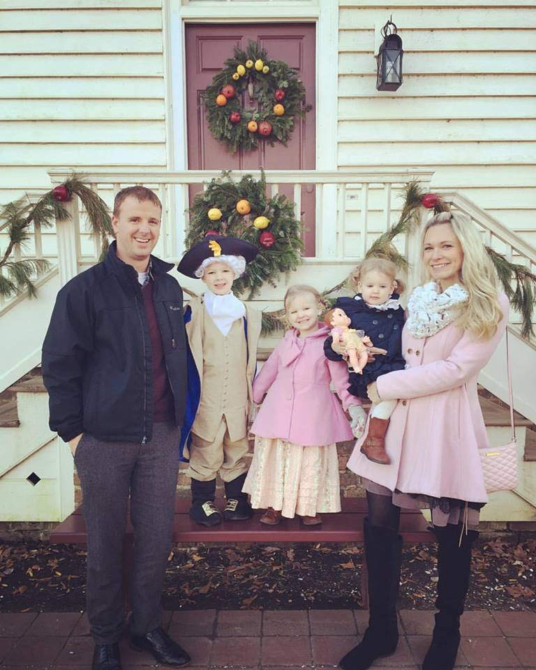 Young Family trip to Colonial Williamsburg at Christmastime, in 2015
