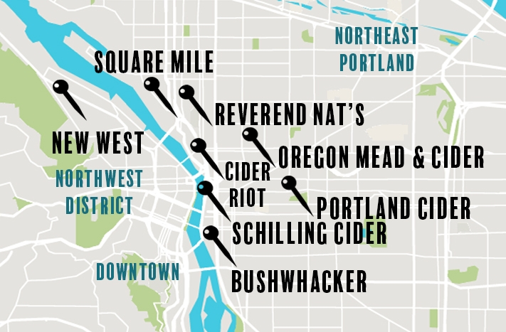 Map of Cider Taprooms in Portland
