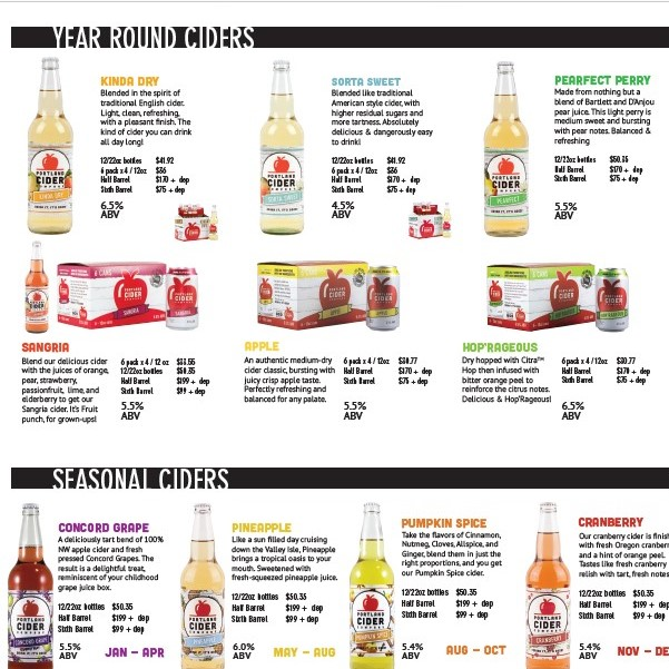 All Package Sales Sheet   (double-sided)- Bigfoot   Includes all flagship ciders: Front - 12oz bottles +  cans  Back - 22oz bottles +  draft