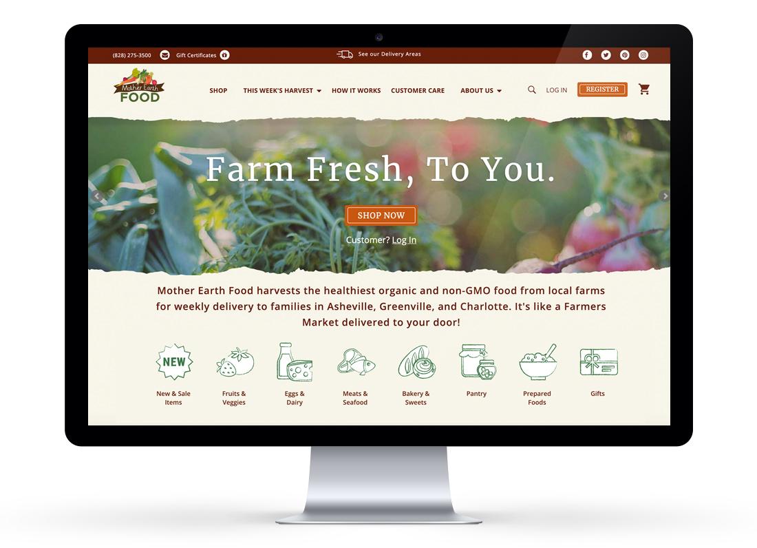 Website design - UX Design, UI Design for Mother Earth Food, Asheville NC