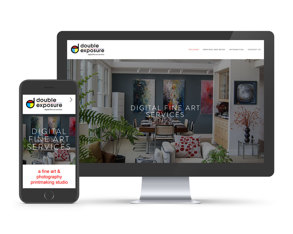 Showing Double Exposure's website on desktop and on mobile. Both sites are built using Squarespace as their website platform. We specialize in working with local Asheville businesses on their websites that are mobile friendly.