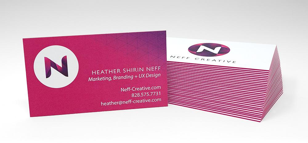 Logo design Asheville NC - Business Cards for Neff Creative Shown