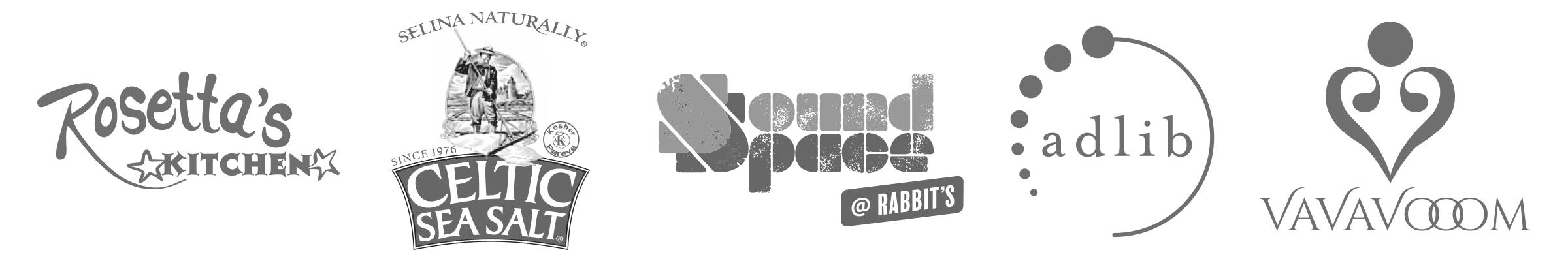 Our cliente logos. Rosetta's, Celtic Sea Salt, Sound Space Asheville and Adlib Clothing.