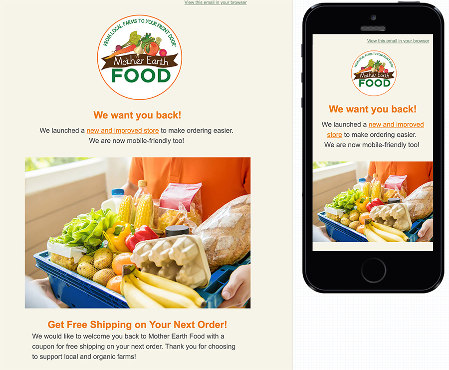 Newsletter design for Mother Earth Food- Mailchimp desktop and mobile newsletter designs shown next to each other