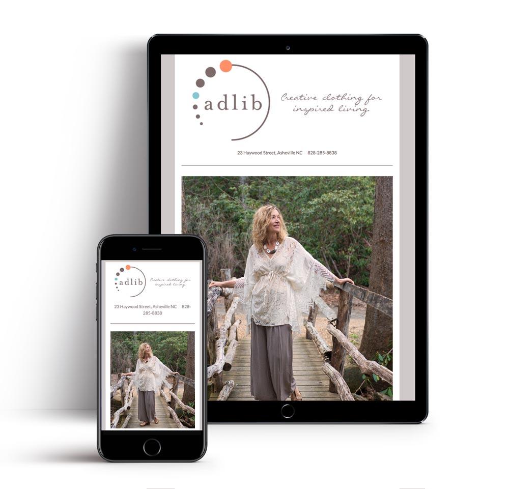 Newsletter Design Asheville - Adlib Clothing Email Designer