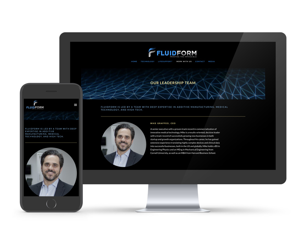 FluidFrom 3d uses Squarespace as their website platform. Showing mobile and desktop version of fluidform3d.com
