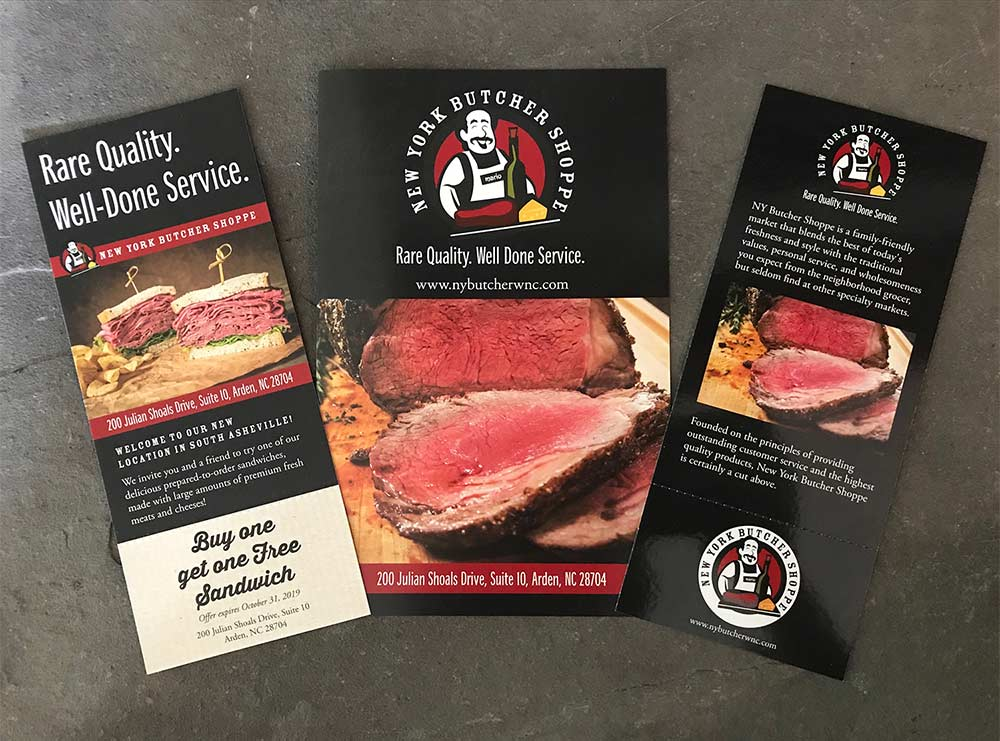 Graphic Design - Brochure and Rackcard designs for NY Butcher Shoppe located in South Asheville NC