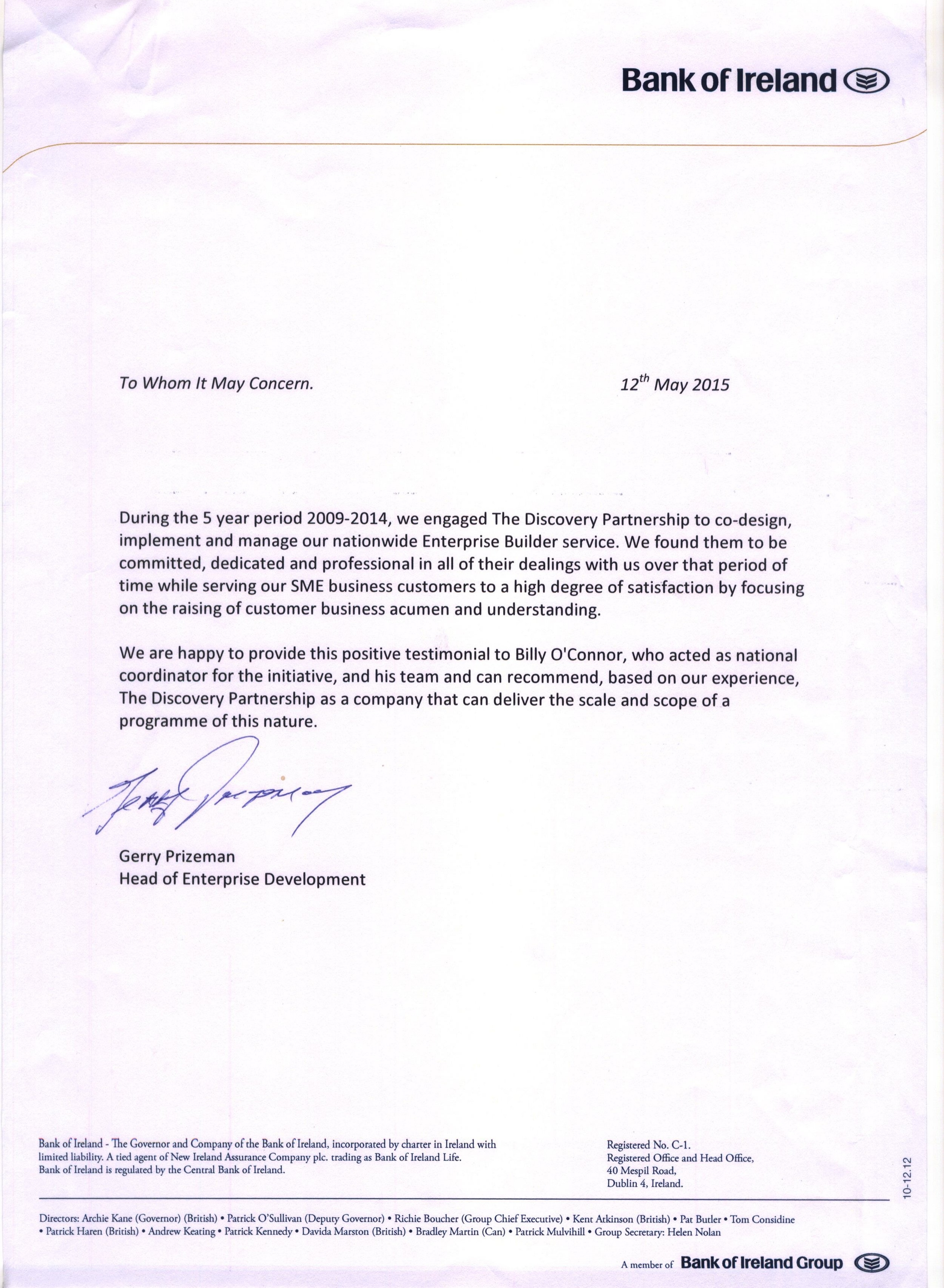 Bank of Ireland testimonial for coaching firm Ireland
