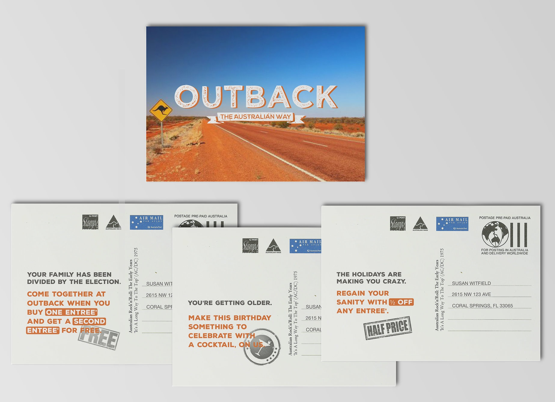 Australian postcard with real imagery that offers a coupon to destress.