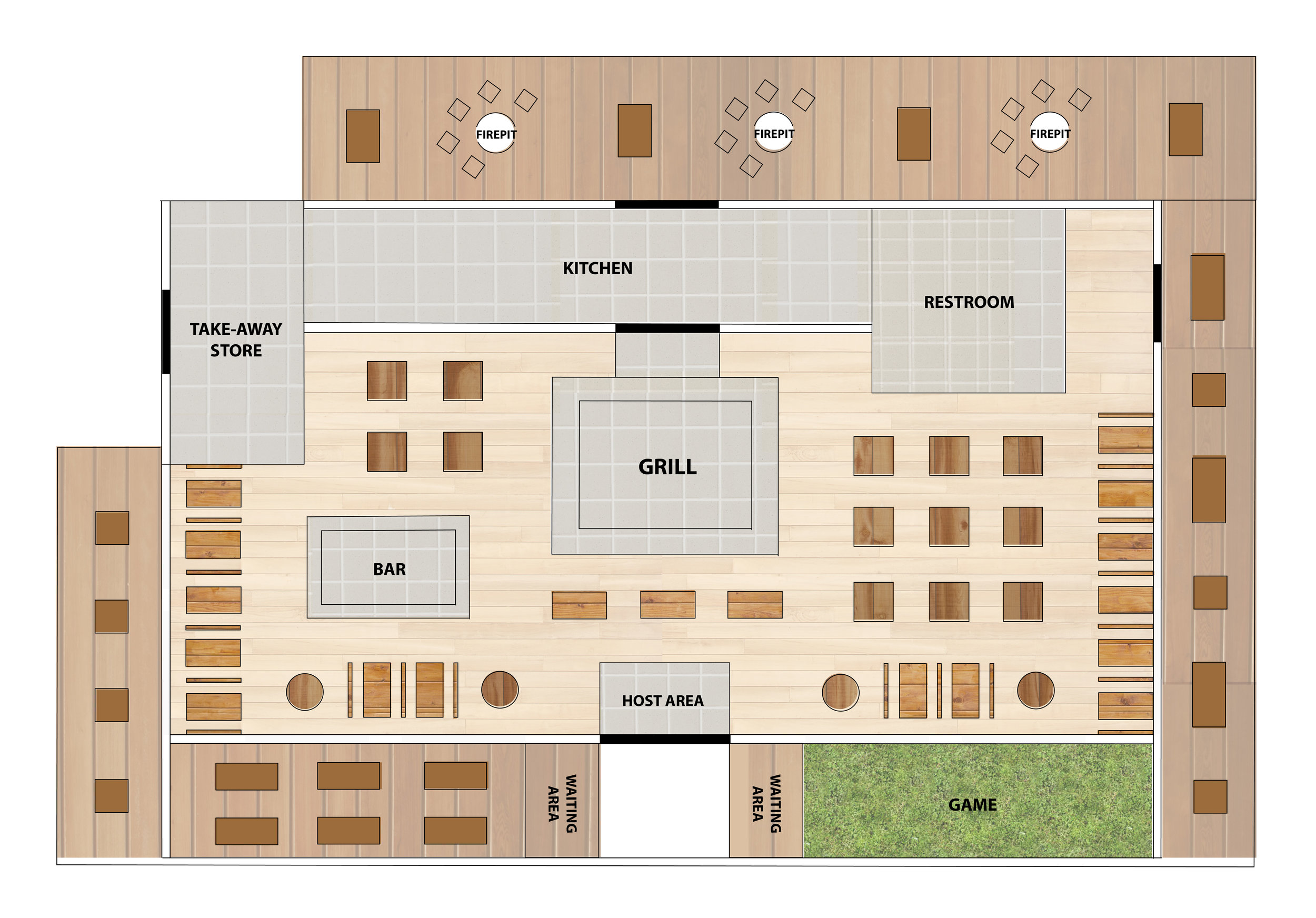 New store layout with emphasis on the communal grill, lawn games for waiting and outside fire-pits for relaxation.