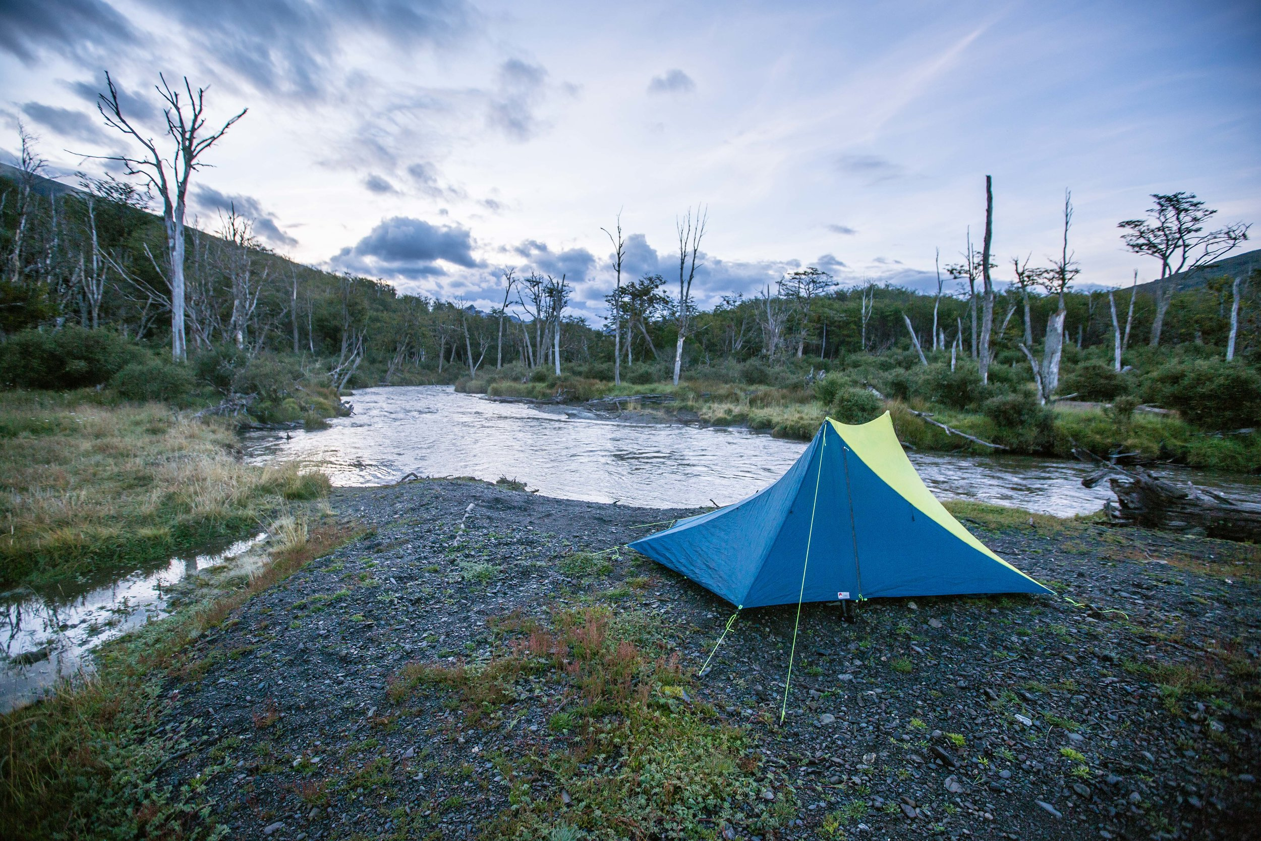 A bit of blue in a sea of green: our Yama Mountain Gear tent.