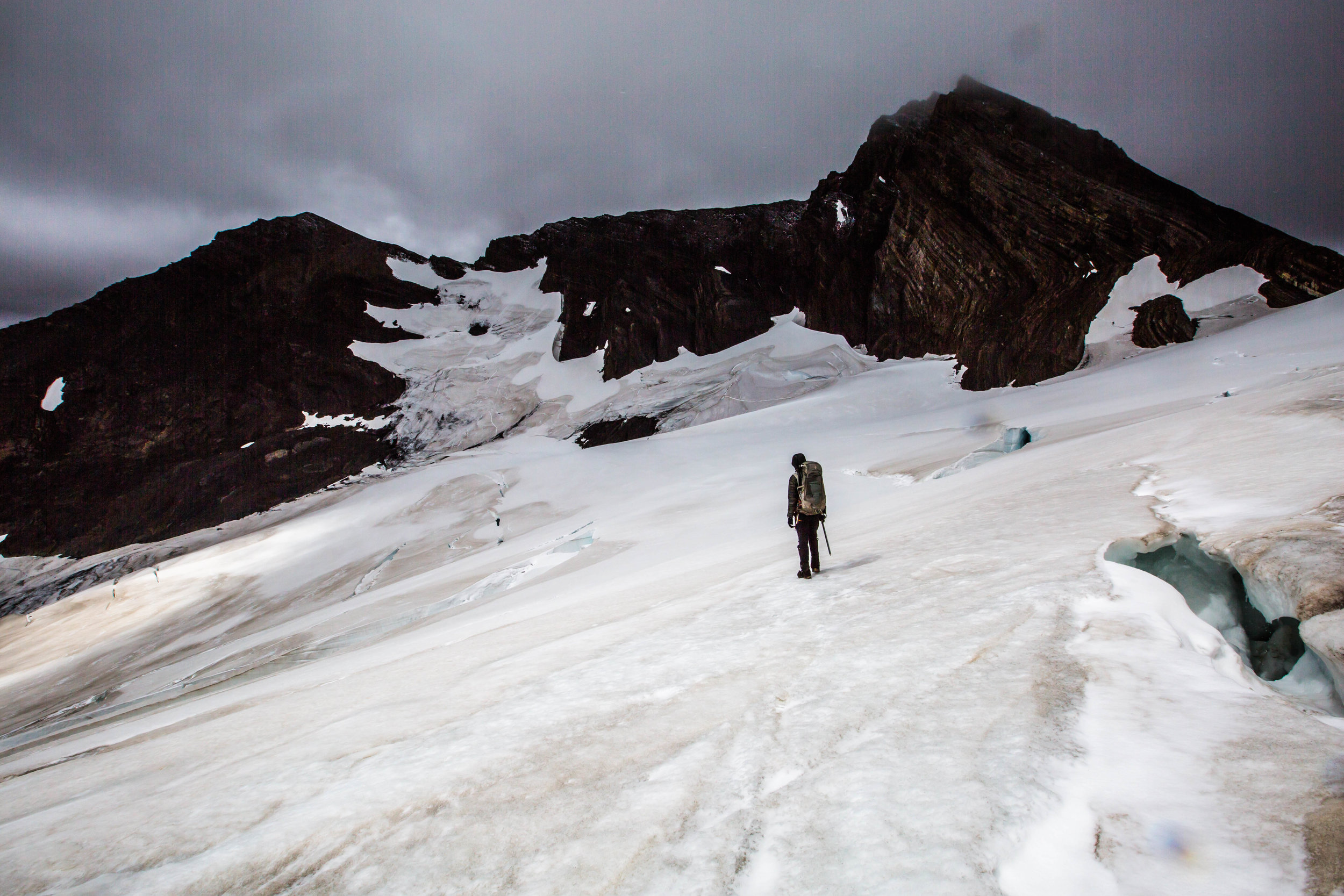 byron pass - Ultra Fiord race founder, Stjepan Pavicic, at the Byron Pass of the Chacabuco Glacier