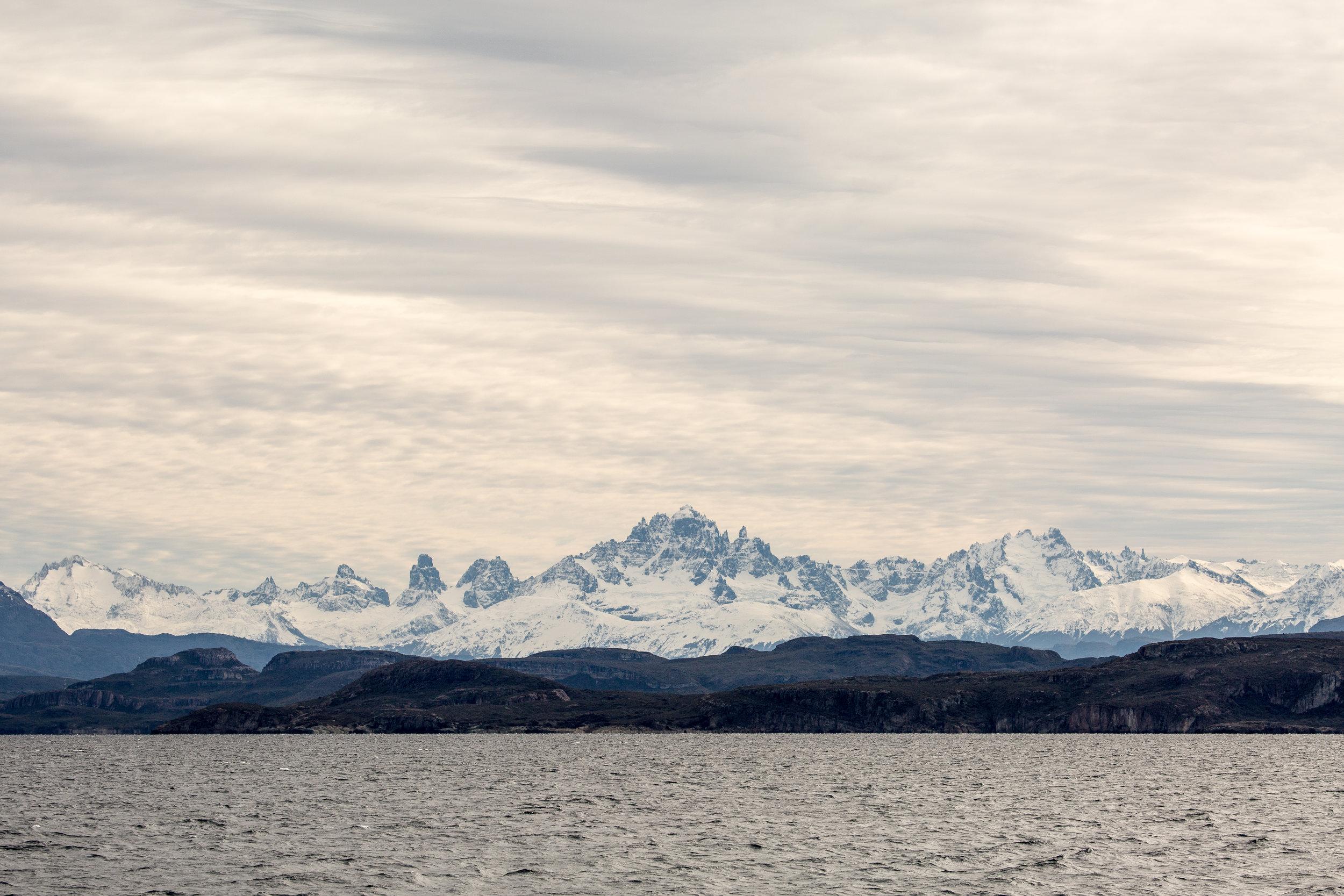 CERO CASTILLO NATIONAL PARK - A view of Cerro Castillo from lake General Carrera