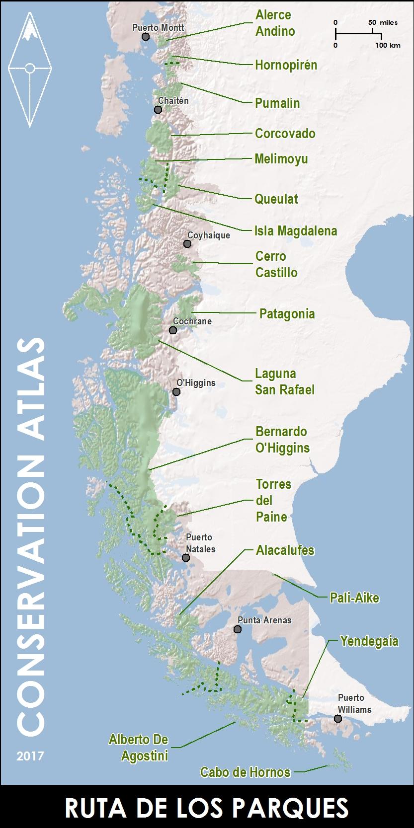 Conservation Atlas - Ruta de los Parques, Route of Parks map Chile