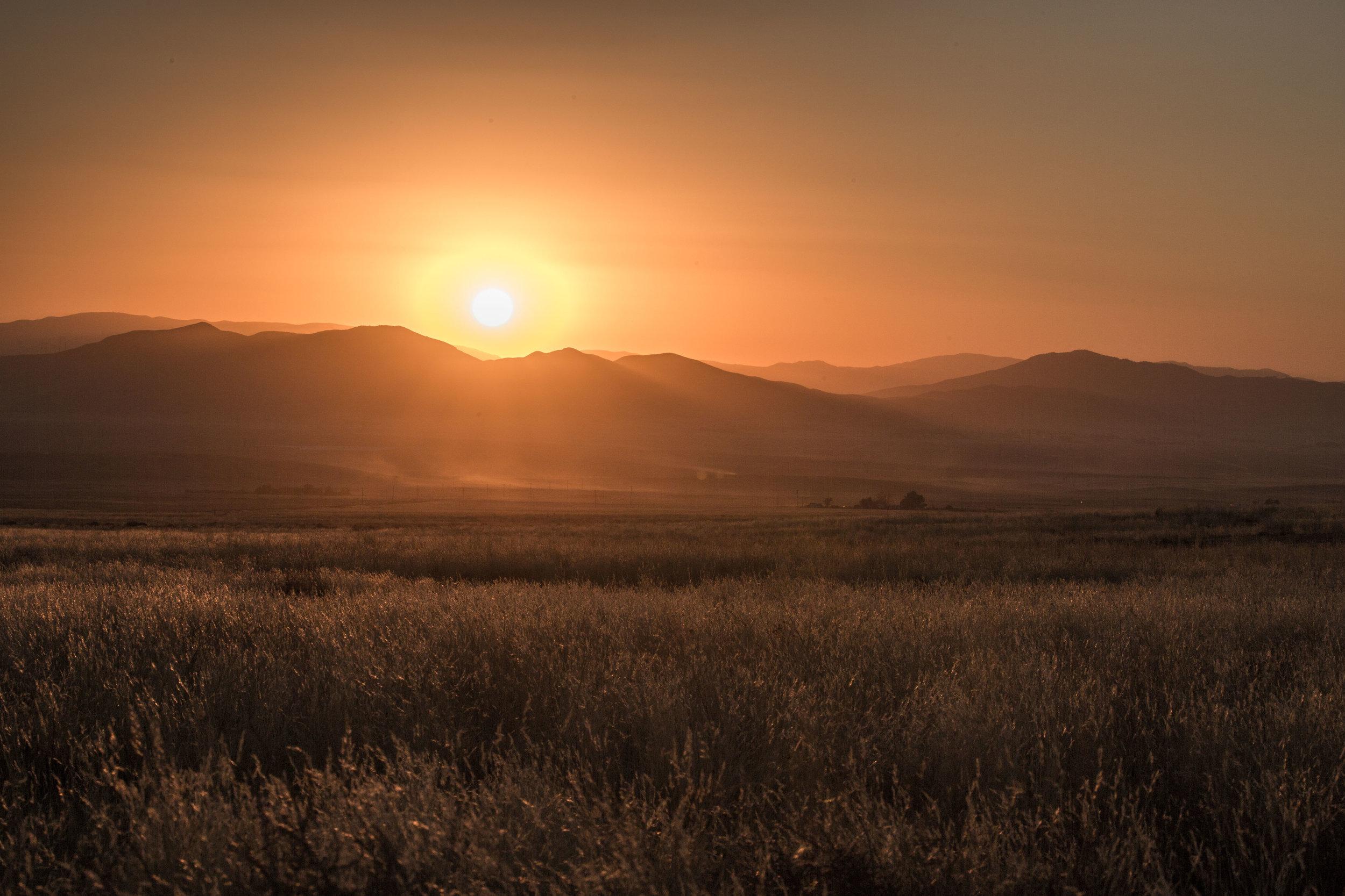 - The sun setting over the Caliente Range and Carrizo Plain's grasslands.