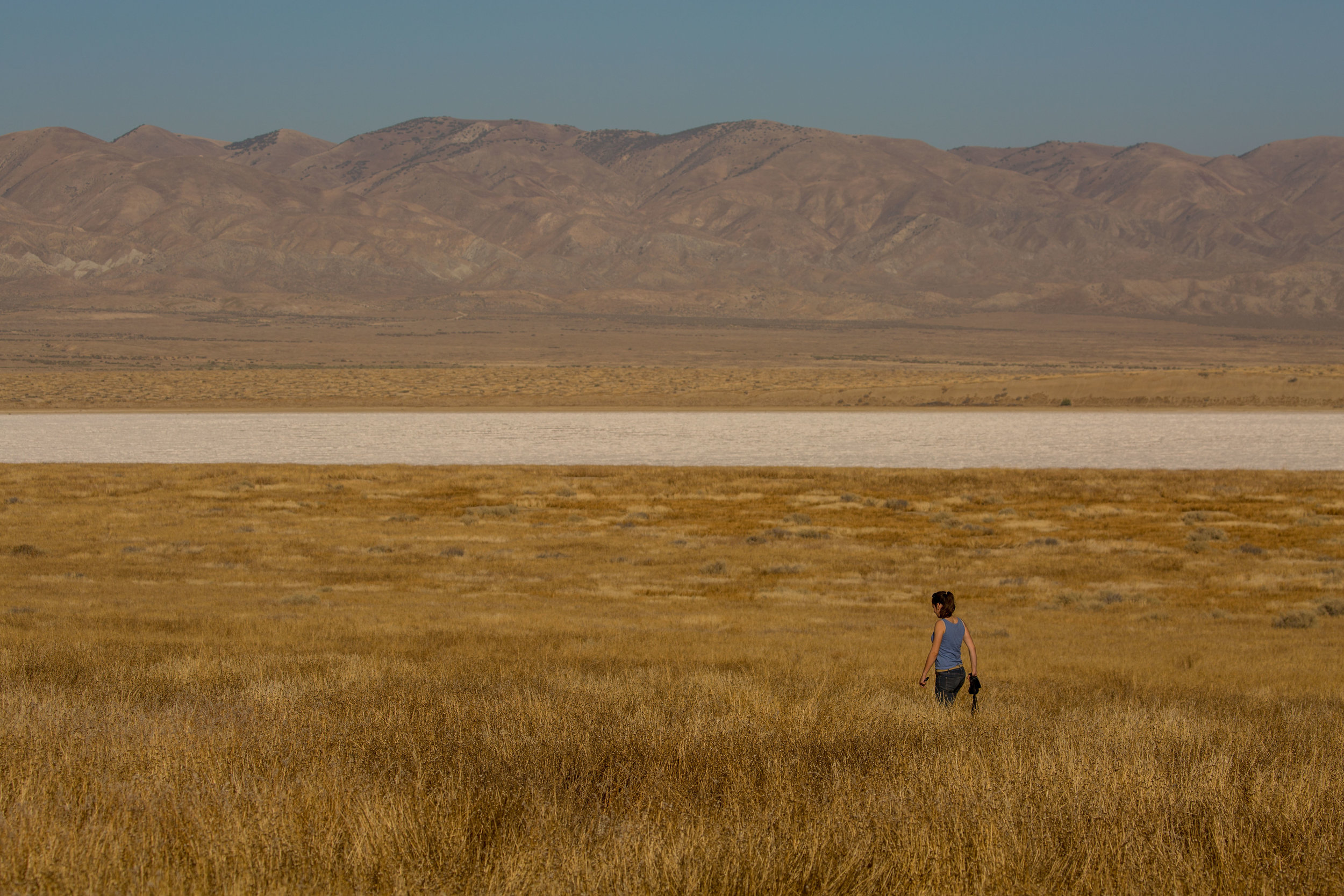 Soda Lake and the Temblor mountain range in Carrizo Plain National Monument, California