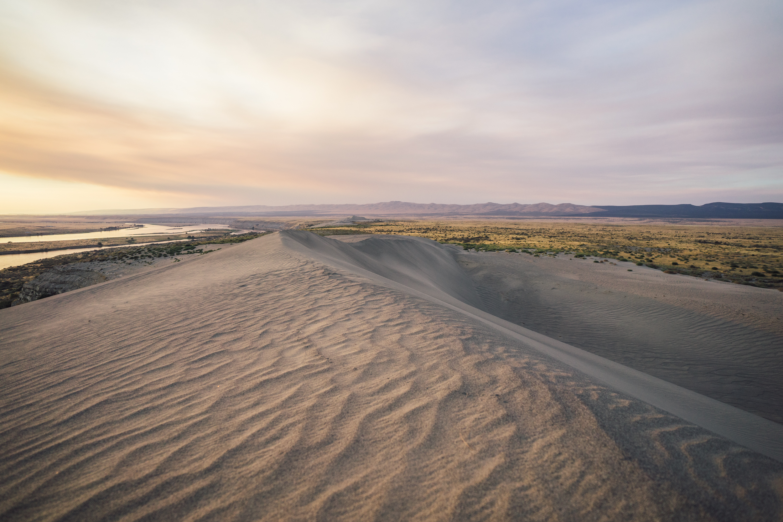 Sun sets over the dunes in Hanford Reach National Monument, Washington