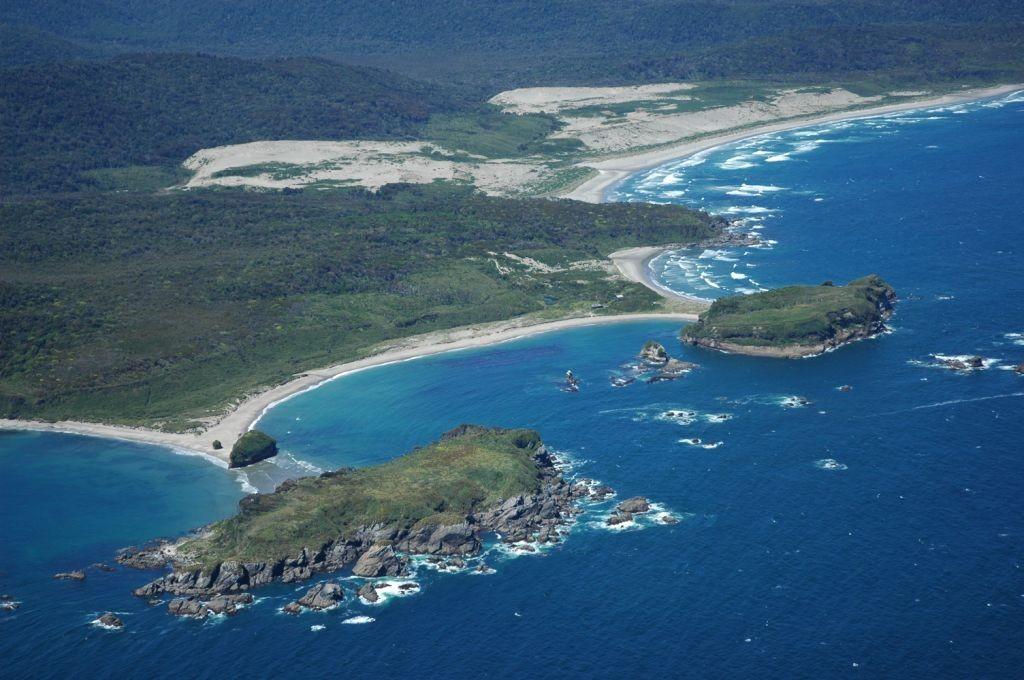 Aerial view of Ahuenco Park's coastal landscapes