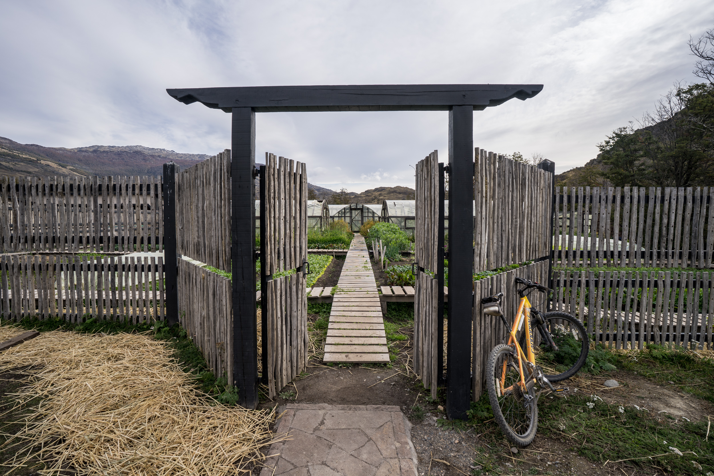 Francisco's bike stationed in front of the vegetable garden in Patagonia Park, Chile