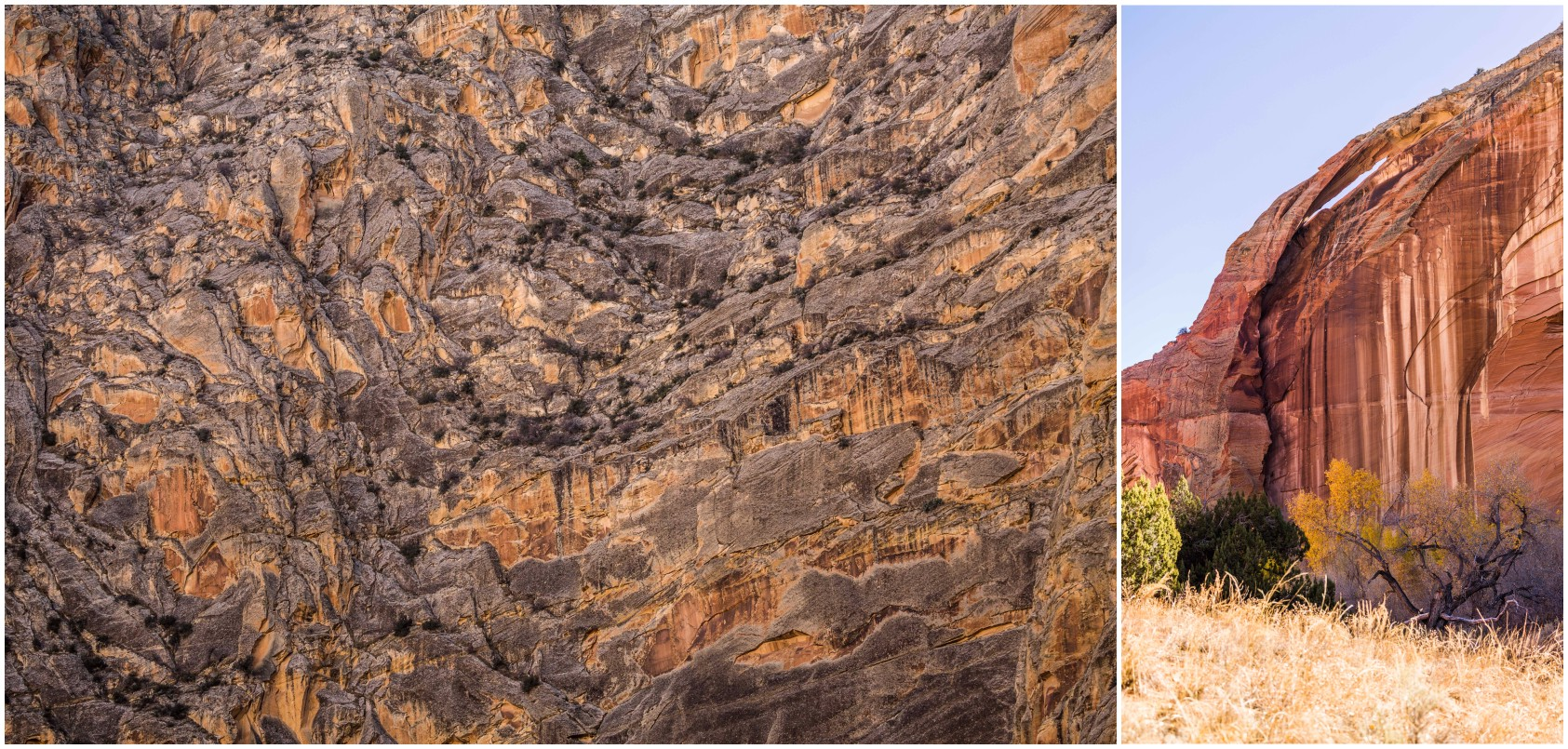 - Left: A view of one of the walls of the river gorge. Right: One of the arches to be spotted along the river gorge trail.