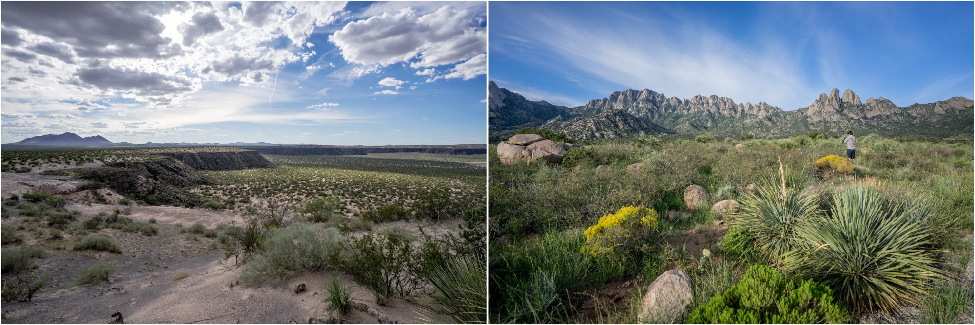 - Left: Kilbourne Hole in Organ Mountains-Desert Peaks National Monument is a site of geologic and historic importance, used as training grounds for the Apollo missions. Right: The Organ Mountains, site of the first battles between Union and Confederate soldiers in New Mexico, are now a favorite recreation area in the monument.
